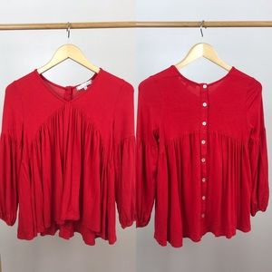 Eri + Ali Anthro • Red Swing Blouse Button Back XS